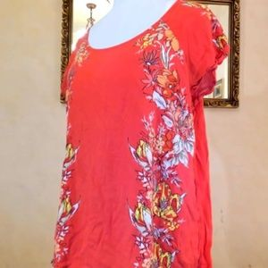 Old Navy Red Floral Blouse XL